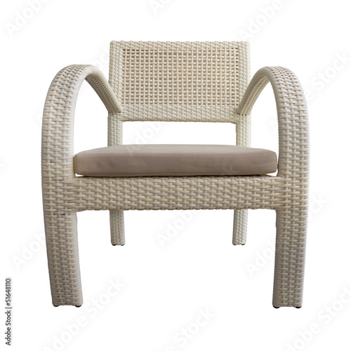 Light Brown Wicker chair Isolated with Path