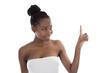 Afrikanerin isoliert macht Werbung - Zeigefinger