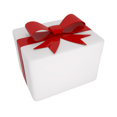 Box With Red Bow Isolated on white