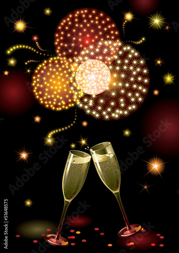holiday background with wo Champagne Flutes and  fireworks.