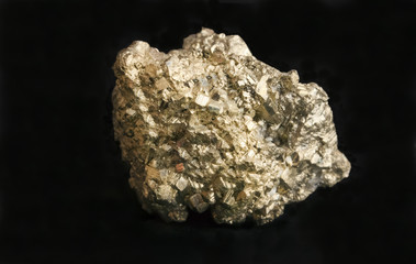 Mineral iron pyrite fool's gold nugget. Concept for wealth.