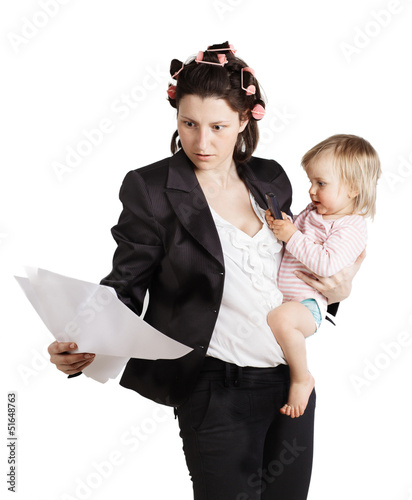 Business woman holding a baby. Isolated over white background