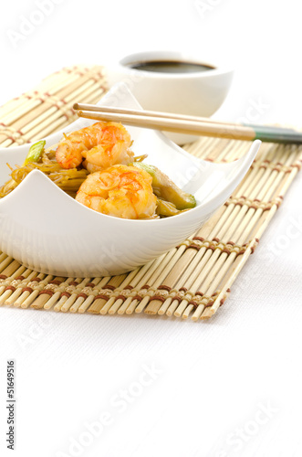 Chinese food, noodles with shrimps