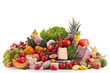 composition with fruits,vegetables,cheese and sausages