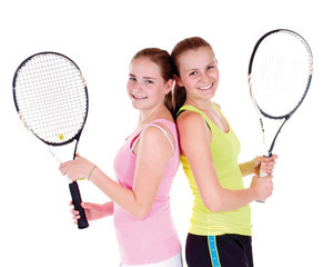 Zwei Tennisspielerinnen