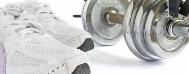 shoes and dumbbell