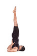 Yoga shoulder stand pose on white