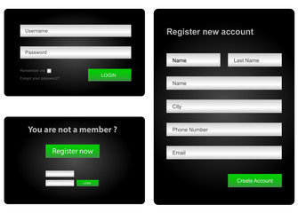 login and register web form