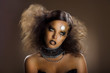 Gilded Woman's Faceart. Performance. Gold Skin - Haute Couture