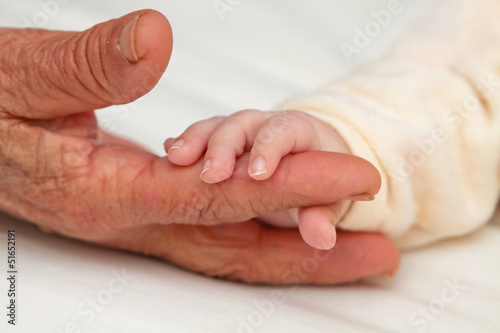 Baby Holding Great Grandma's Finger