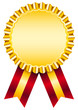 Golden Award Badge Red Ribbon Wide Stripes