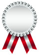 Silver Award Badge Red Ribbon Wide Stripes