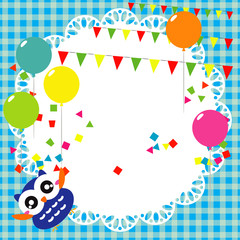 Vector birthday party card with cute owl