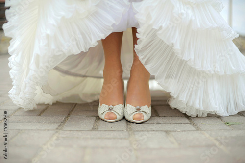 canvas print picture Bride Showing Her Shoes