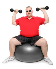 Big overweight man exercising on a white background.