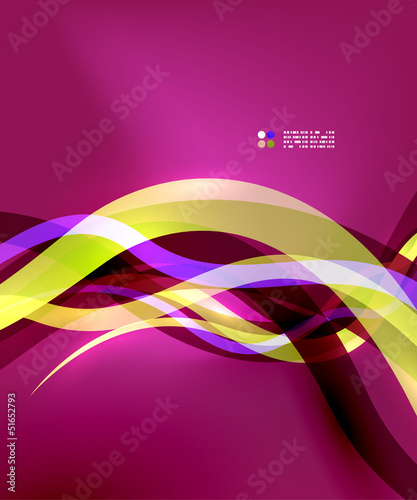 Transparent colorful wave lines with light effects
