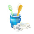 toothbrush, glass and toothpaste