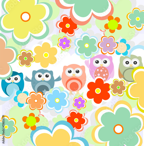 Background with flowers and cute owls