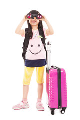 happy little girl holding telescope and travel suitcase
