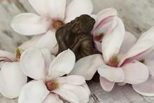 Buddha figure avec des fleurs de magnolia