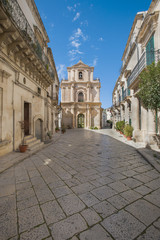italy, sicily, scicli, old baroque street