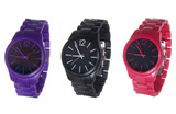 set of wrist watches isolated on white. purple, black  and red