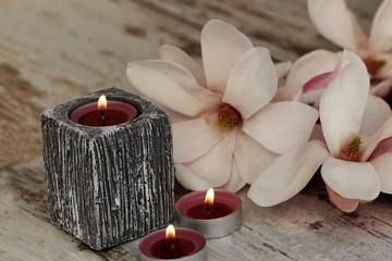 Teelichter mit Magnolienblüten