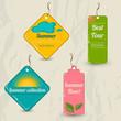 Set of 4 retro summer tags.