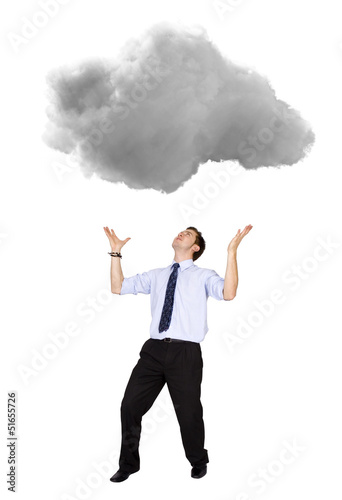 Business man lifting a cloud