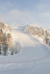 Ruka ski mountain at winter in Finland