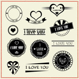 set of I Love You vintage retro style labels
