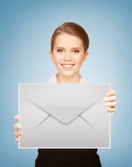 girl showing virtual envelope
