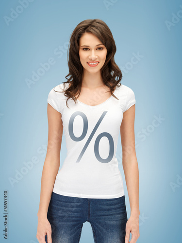 woman in shirt with percent sign