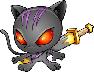 Cute Kitten Warrior Ninja Vector