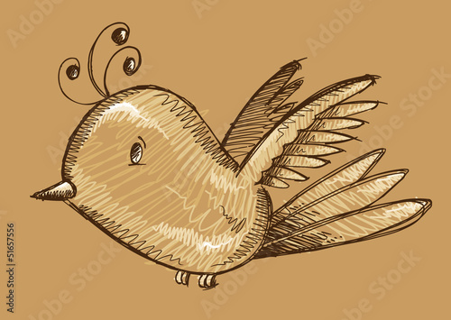 Cute Bird Sketch Doodle Illustration Vector Art