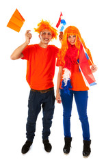 Young couple for kings day in Holland