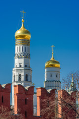 Ivan the Great Bell Tower and battlements of the Kremlin wall