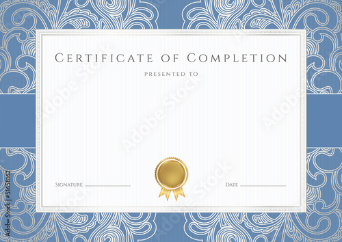 Certificate / Diploma template with blue border. Floral pattern