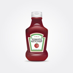 Tomato ketchup bottle vector illustration