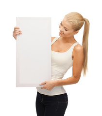 woman with white blank board