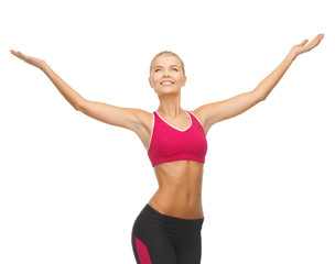 sportswoman with raised up hands