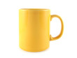 Yellow cup on white background. Isolated object.