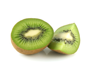 Isolated half of kiwi with slice