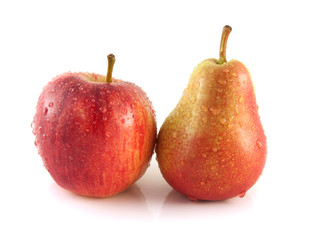 Ripe red pear with red apple on white background