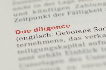 Due Diligence Überschrift und Definition in einem Buch