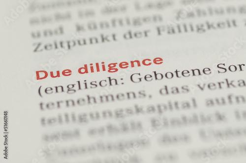 Due Diligence Überschrift und Definition in einem Buch - 51660148