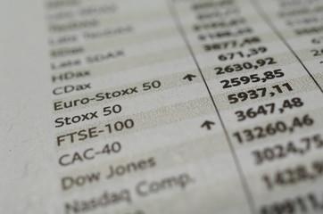 Eurostoxx, Stoxx-50 Liste von Indizes in der Zeitung