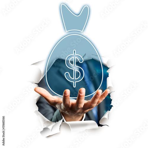 Hand bietet Sack voll Geld an