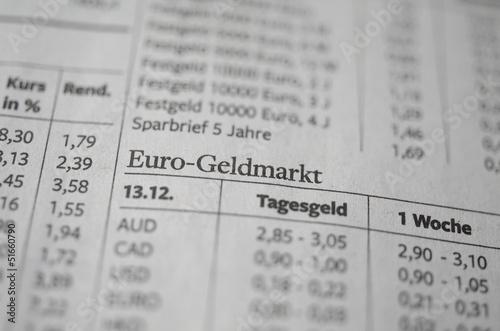Euro-Geldmarkt Zeitung Nahaufnahme