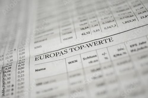 Poster Aktien Top-Werte Europa